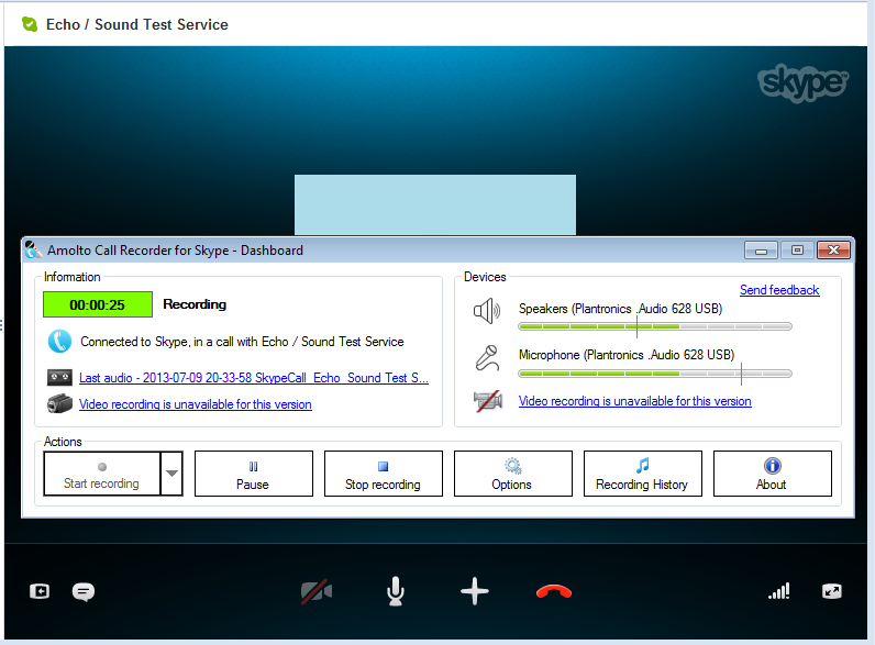 Click to view Amolto Call Recorder for Skype 2.6.0 screenshot