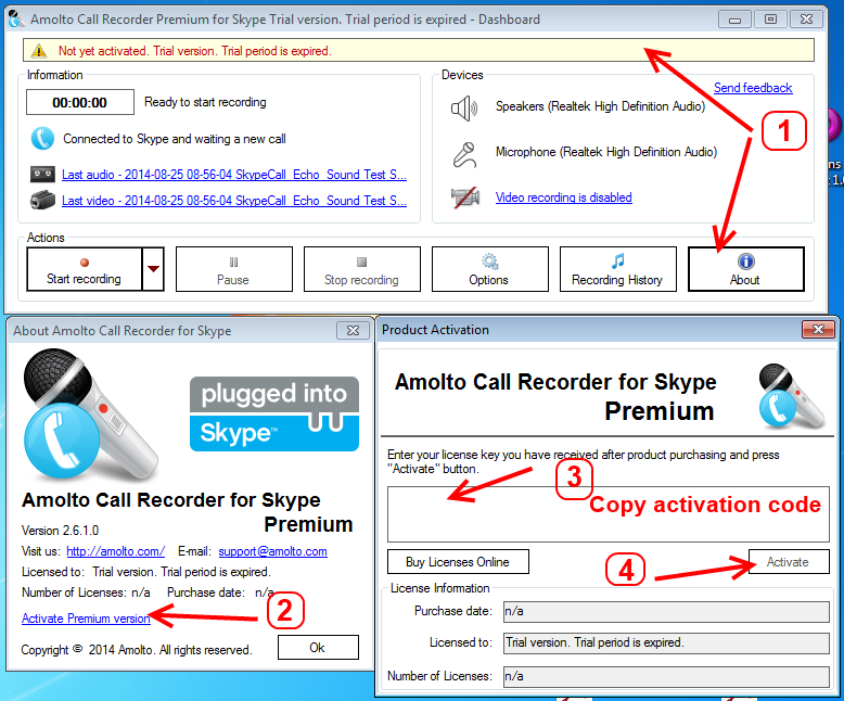 Support - Amolto Call Recorder for Skype