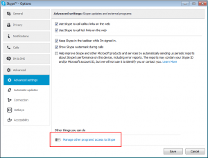 Manage other programs access to Skype